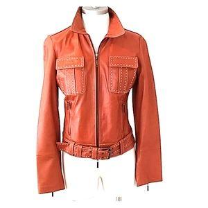 H by HILFIGER Leather Moto Jacket w/ Belt